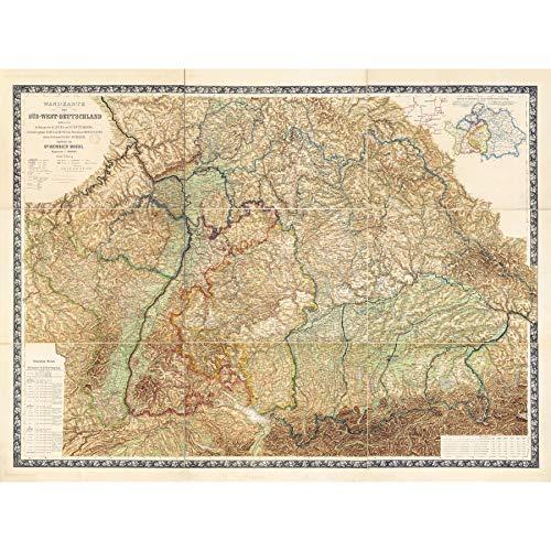 Map South West Germany Nuremberg Munich Frankfurt Large Wall Art Poster Print Thick Paper 18X24 Inch Mapa Oeste Alemania Pared Impresi�n del Cartel