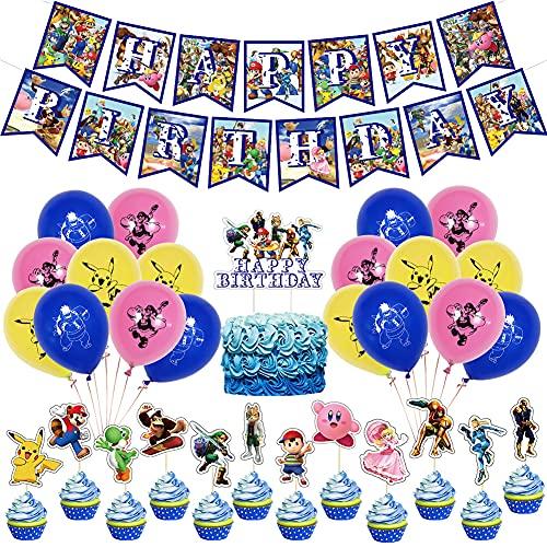 32Pcs Globos para Super Mario Decoración Fiesta, Hilloly Super Mario Decoracion, Cumpleaños Pika-chu Globos Set, Niños y Niños Decoración Cumpleaños Dibujos animados Incluye globo Banner Decoración