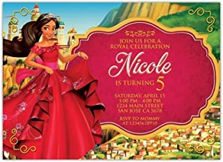 Personalised Elena of Avalor Birthday Party Invitations with White Envelopes