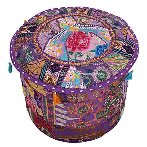 DK Homewares Indio Tradicional Ottomans and footrests Púrpura Dormitorio De Escabel 16 X 16 X 13 Pulgadas Redondo 45 X 45 X 30 Cm Colorful Decoración del Hogar Cubierta De Puff | Sólo Cubierta