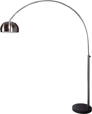 Invicta Interior stylische Lounge Deal Lampe en Arc télescopique en Chrome avec Pied en marbre 170–210cm