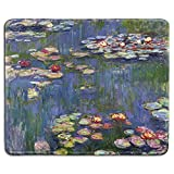 dealzEpic - Art Mousepad - Natural Rubber Mouse Pad with Famous Fine Art Painting of Water Lilies by Claude Monet - Stitched Edges - 9.5x7.9 inches