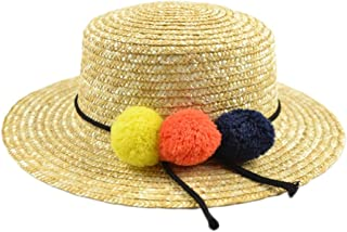 Sun Hat Beach Hat Women's Hat Straw Straw Hat Korean Version of The Ball Flat Top Hat (Color : Grass Yellow, Size : M (56-58cm))
