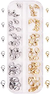 Pandahall Elite 60 Pieces 6-Size 2-Color Grade A 304 Stainless Steel Lobster Claw Clasps for Jewelry Making Value Pack Box Set Assortment