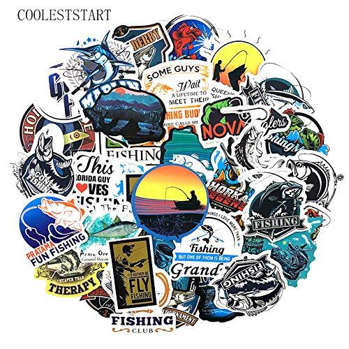 BLOUR 50 Stück/Pack Interessante Fisherman Go Fishingstickers für Koffer Laptop Motorrad Skateboards Garderobe Spielzeug Naklejki Aufkleber
