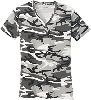 Ladies Camo V-Neck Tees in 5 Colors Sizes: XS-4XL