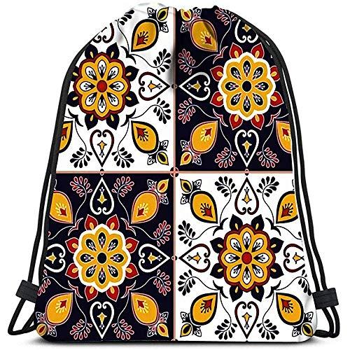 jenny-shop Kordelzug Taschen Rucksack italienische Fliese mit Barock Blumenornament Portugiesisch Azulejo mexikanischen Talavera Spanisch Reiserucksäcke