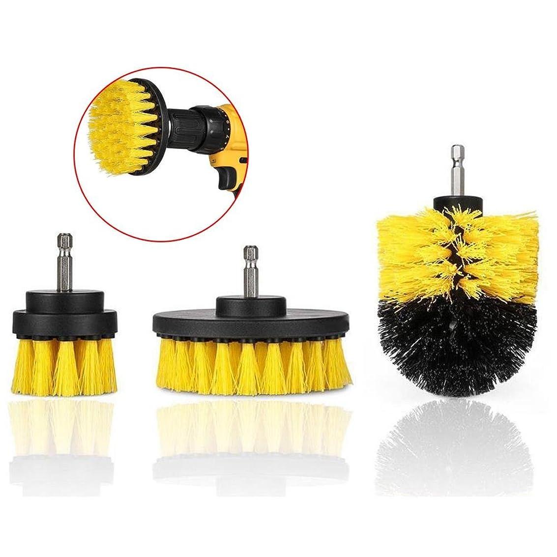 人物永久隠されたWchaoen 3本2 / 3.5 / 4インチイエロー電動ドリルブラシタイルグラウトパワースクラバー浴槽クリーニングブラシ ハードウェア部品