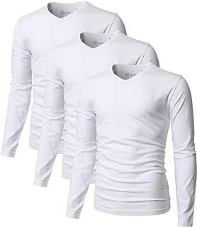 H2H Men's Casual Slim Fit T-Shirt Cotton Blended 3-Pack Short/Long Sleeve