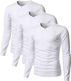 H2H Men's Casual Slim Fit T-Shirt Cotton Blended 3-Pack Short/Long Sleeve