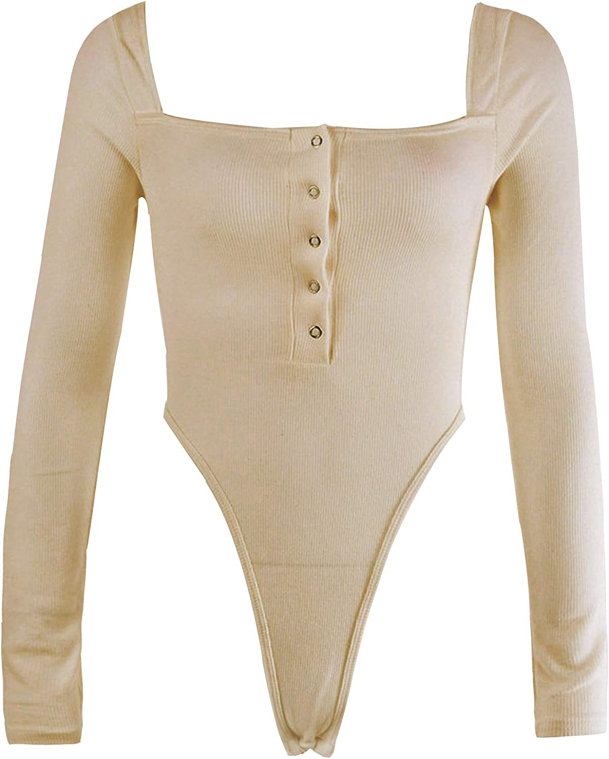 dPois Women's Sexy Pure Color One Word Collar Bodysuit Long Sleeve Crochet Slim Fit Sports Leotard Shirts