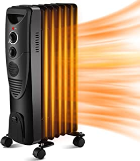 Kismile 1500W Oil-Filled Radiator Heater, Oil Heater with Indicator Lights, 3 Heat Settings, Heater with Adjustable Thermo...