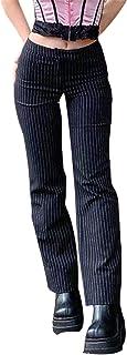 DELIMALI Women's Fashion Striped Straight Pants High Waist A-line Loose Wide Leg Pants Streetwear