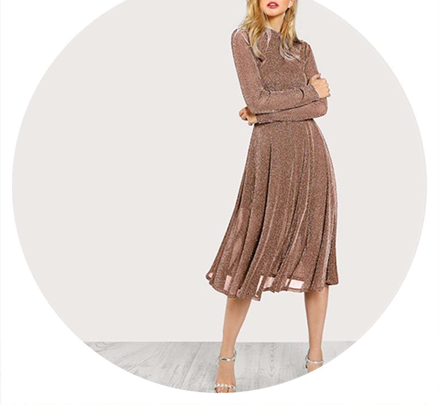 Brown Party Elegant Solid Mock Neck Glitter Fit and Flare Long Sleeve Dress Modern Lady Workwear Women Dresses