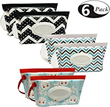 Joyous Journey [6-Pack] Portable Wet Wipe Pouch Dispenser, Eco Friendly Reusable & Refillable Baby Travel Diaper Wipe Carrying Case Holder   Keeps Wet Wipes Moist