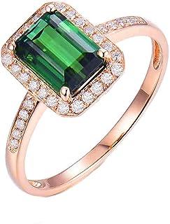 ButiRest - Anello nuziale in oro rosa 750, 18 carati, con 4 denti, taglio rettangolare, 2,21 ct, tormalina verde VS e diam...