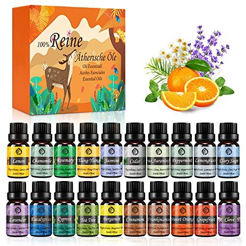 Aceites Esenciales Humidificador, 20x5ml Aceites Esenciales Naturales 100%, Aromaterapia para Humidificador y Difusor Aroma, SPA, Masajes, Relajarse, Ayuda a Dormir con Calma, Traje Perfecto