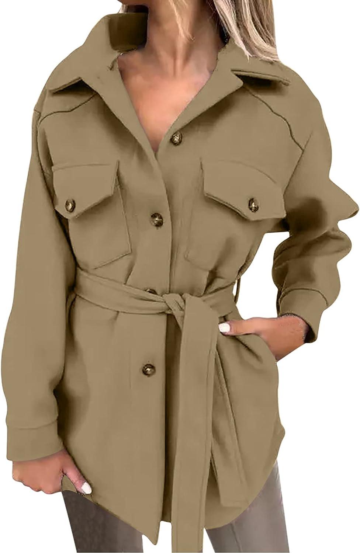 Aritone Women's Fashion Jacket Coat Belt Tweed Long Sleeve Coat Pocket Button Suit Coat
