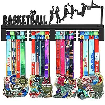 GENOVESE Basketball Medal Holder Display Hanger Rack,Super Sturdy Black Steel Metal,Wall Mounted Over 70 Medals Easy to Install