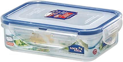 Lock & Lock HPL810C Classic Stackable Airtight Rectangle Food Container, 360ML with Divider