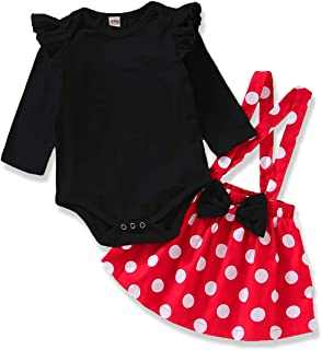 SEVEN YOUNG Toddler Baby Girl Clothes Long Sleeve Romper Polka Dot Overall Skirt 2Pcs Princess Bowknot Skirt Outfits