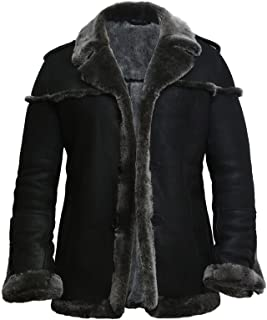 BRANDSLOCK Mens Real Shearling Sheepskin Leather Warm Duffle Trench Coat Thick Wool Inside