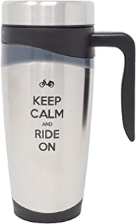 Suck Up Gifts Keep Calm and Ride On Motorcycle Stainless Steel 16 Oz Travel Tumbler Mug (Gray)