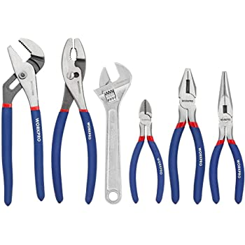 "WORKPRO 6-Piece Pliers & Wrench Set (10"" Water Pump Pliers, 10"" Slip Joint Pliers, 8"" Long Nose Pliers, 8"" Linesman Pliers, 6"" Diagonal Pliers, 8"" Adjustable Wrench) for DIY & Home Use, W001329A"