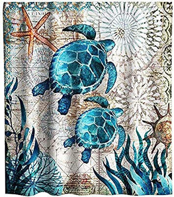 Nautical Green Sea Turtles Beach Theme Fabric Shower Curtain Sets Bathroom Blue Ocean Decor with Hooks Waterproof Washable 70 x 70 inches Teal