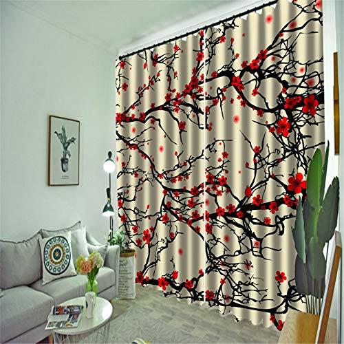 FACWAWF Inicio 3D Patrón Tridimensional Tejido De Poliéster Sala De Estar Dormitorio Balcón Sala De Estudio Cortina 132x160cm(2pcs)