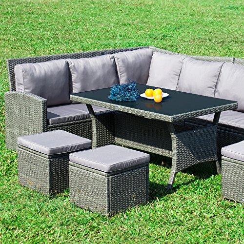 RedNeck Gartenmöbel Set 8er Ecklounge Comfort Dining Grau Polyrattan Alu mit Schwarzglas