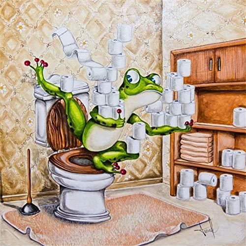 Full Square Drill 5D DIY Diamantmålning Groda toalett 3D Broderi Korsstygn Mosaik Heminredning Present Fyrkantig 40x40cm
