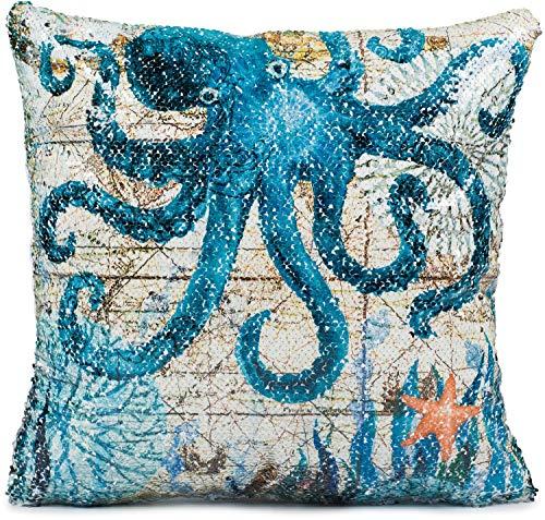 Puccybell KB006 - Funda de cojín con lentejuelas, diseño de animales, impresión digital, pescado, cocle, ballena, cangrejo, cojín decorativo para cojín 40 x 40 cm