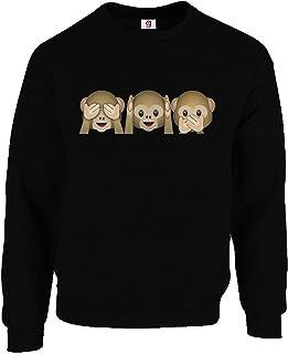 Graphic Impact Inspired Funny Emoji 3 Monkey Emoji Lovers Monkey Cute Top Sweat Shirt