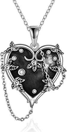 Witches Heart Pendant Necklace 925 Sterling Silver Gothic Jewelry Gifts for Women