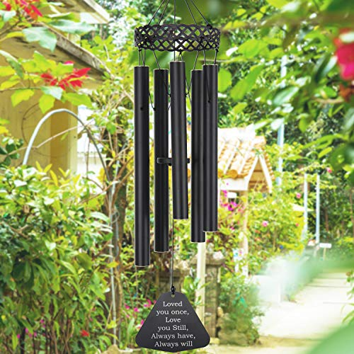 ASTARIN Wind Chimes Outdoor Deep Tone,30 Inch Sympathy Wind Chimes Beautiful Melody Tuned Soothing Relaxing Melody,Memorial Wind Chime for Mom Loved or Christmas Housewarming Decor Chime,Black