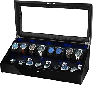TEEMING Automatic Watch Winder 8+8 Storage Boxes for 16 Watches with LED Light