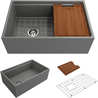 BOCCHI 1344-006-0120 Contempo Apron Front Step Rim Fireclay 30 in. Single Bowl Kitchen Sink with Protective Bottom Grid and Strainer in M.Grey, Matte Gray
