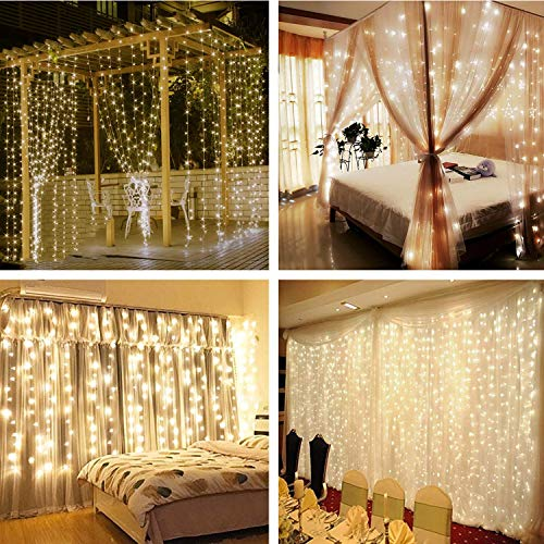 Ooklee Curtain Fairy Lights, 300 LED 3m x 3m 8 Modes USB Plug in Hanging Window Light,Remote Timer Copper Wire String Lighting for Bedroom Outdoor Garden Wall Gazebo Christmas Decorations (Warm White)