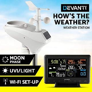 Devanti Weather Station Wireless WiFi Rain Gauge Solar Sensor LCD Display UV Light Clock Indoor Outdoor Temperature and Hu...