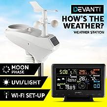 Devanti Weather Station Wireless WiFi Rain Gauge Solar Sensor LCD Display UV Light Clock Indoor Outdoor Temperature and Humidity