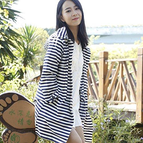 Vestes anti-pluie QFF Lovely Raincoat Femme Mode pour Adultes à Pied Poncho étanche Respirant Longue Section Coupe-Vent extérieur Mince (Couleur : Bleu foncé)