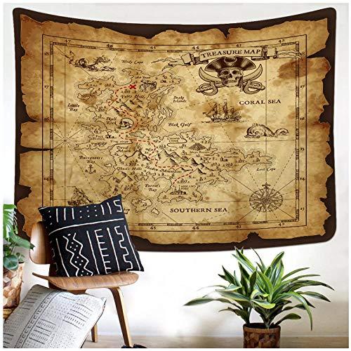 KBIASDRetro Mapa del Tesoro Impreso Tapiz Mantas para Colgar en la Pared decoración de Arte para el hogar Regalo 200x150cm