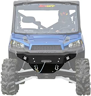 SuperATV Heavy Duty Front Winch Ready Bumper for Polaris Ranger Full Size XP 1000/900 / 570 / Crew - Wrinkle Black