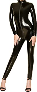 L04BABY Womens Patent Leather Long Sleeve Zipper Lingerie Full Bodysuit Clubwear