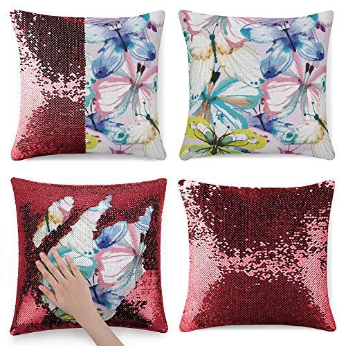 pealrich Fundas de almohada cuadradas para sofá cama, fundas de cojín decorativas de franela de mariposas, 40,6 x 40,6 cm