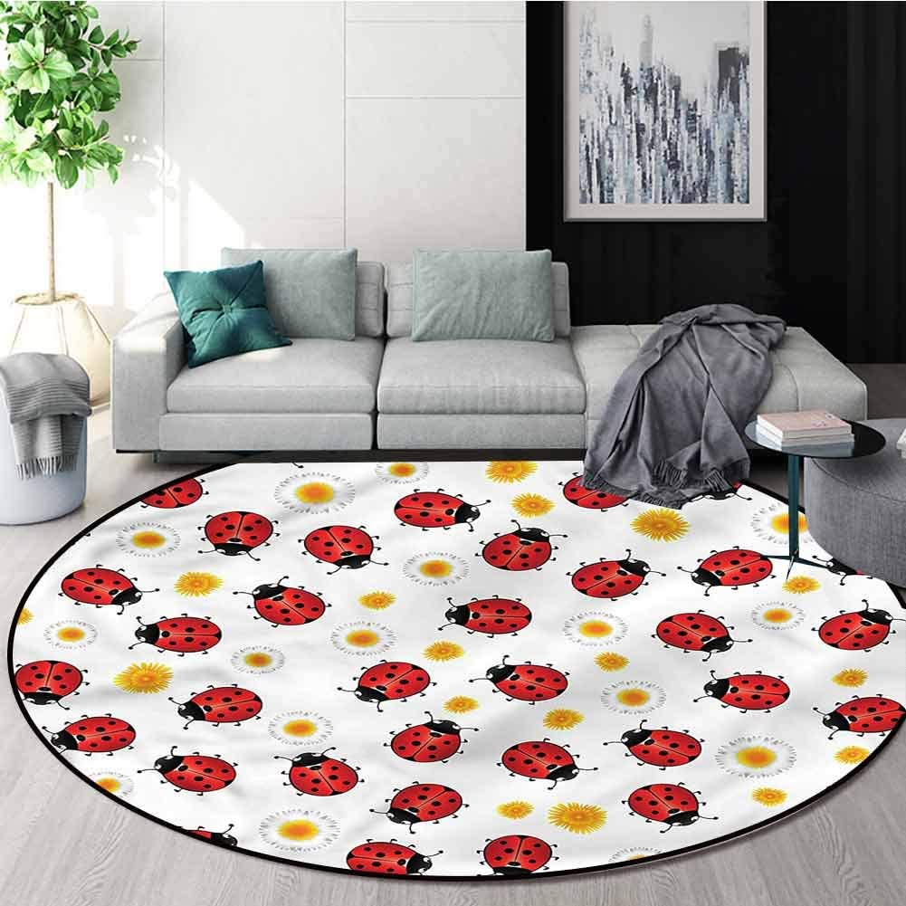 RUGSMAT New York Mall Ladybugs Non-Slip Our shop OFFers the best service Area Rug Spring Sunny Pad Round Blooms