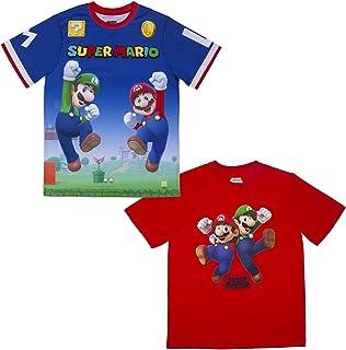 Nintendo Super Mario & Luigi Boys Athletic Gamer Top Graphic Tee Shirt 2 Pack (Blue/Red, 8)