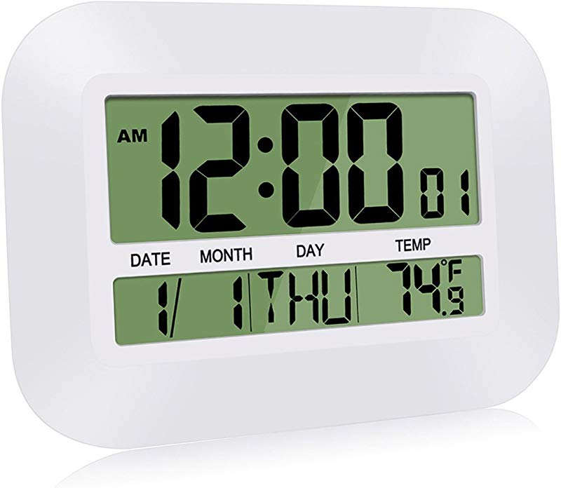 HeQiao Silent Desk Clocks 12 Inch Digital Wall Clock Simple Large LCD Alarm Clock With Temperature Calendar For Home Office Ivory White