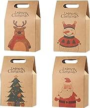 Hemoton, 16 sacchetti regalo natalizi in carta kraft resistente, sacchetti regalo per caramelle, cioccolatini, biscotti, alimenti, per feste di Natale